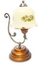 relaxdays Retro lamp hout / metaal / glas + bloemen motief, Vintage bureaulamp, Tafellamp.