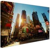 Zonsopgang in Manhattan Canvas 80x60 cm - Foto print op Canvas schilderij (Wanddecoratie woonkamer / slaapkamer) / Steden Canvas Schilderijen