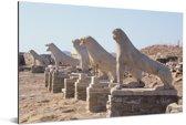 Zonnestralen op De Leeuwen van Delos in Griekenland Aluminium 30x20 cm - klein - Foto print op Aluminium (metaal wanddecoratie)