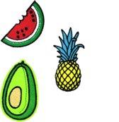 Strijk embleem 'Tropisch fruit patch set (3)' – stof & strijk applicatie