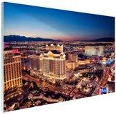 FotoCadeau.nl - Nachtverlichting Las Vegas Glas 180x120 cm - Foto print op Glas (Plexiglas wanddecoratie)