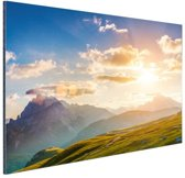 Zonsondergang in de bergen Aluminium 120x80 cm - Foto print op Aluminium (metaal wanddecoratie)