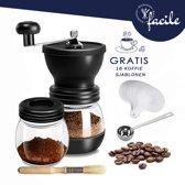 Facile® Handmatige koffiemolen, inclusief schoonmaakborstel, opscheplepel en koffiebakje - Levenslang garantie