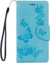 Voor Sony Xperia XZ Power Vlinders Embossing horizontaal Flip lederen hoesje met houder & opbergruimte voor pinpassen & portemonnee & Lanyard(blauw)