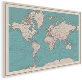 Vintage Wereldkaart voor aan Muur of Wand Poster Historisch klein 40x30 cm