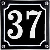 Zwart emaille huisnummer  - 37