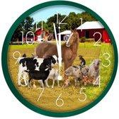 Wandklok boerderijdieren groen 25 cm