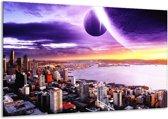 Canvas schilderij Uitzicht | Paars, Geel, Grijs | 120x70cm 1Luik
