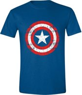 Captain America - Cracked Shield Mannen T-Shirt - Blauw - L