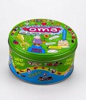 Snoeptrommel Oma gevuld met verse dropmix in cadeauverpakking met gekleurd lint