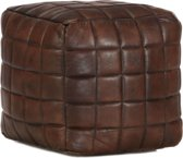 Poef 40x40x40 cm echt geitenleer donkerbruin (incl. Fleecedeken)