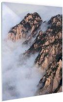 Mist in de bergen Glas 20x30 cm - Foto print op Glas (Plexiglas wanddecoratie)