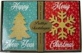 Kerstkaarten met nieuwjaars wens hologram (5x10) 50 kaarten