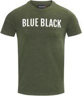 Blue Black Amsterdam Heren T-shirt Tony - Groen Melange - Maat S