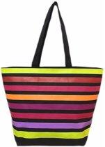 Damestas strandtas Playa Aruba met strepen print 58 cm - Dames handtassen - Shopper - Boodschappentassen