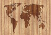 Fotobehang World Map Wood | L - 152.5cm x 104cm | 130g/m2 Vlies