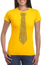 Geel fun t-shirt met stropdas in glitter goud dames XL