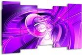 Canvas schilderij Abstract | Paars, Wit | 150x80cm 5Luik