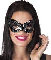 24 stuks: Masker Pailletten - zwart