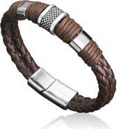 Montebello Armband Arban Brown - Heren - Leer - Metaal - 21 cm