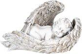 Engel slapend in zilveren vleugels 26 cm