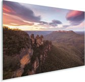 Zonsondergang bij Nationaal park Blue Mountains in NSW Plexiglas 90x60 cm - Foto print op Glas (Plexiglas wanddecoratie)