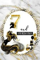 7 and Awesome: 7th Birthday Journal for Girls - Unicorn Lover Gift - Alternative to Card - Unicorn Face Notebook
