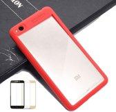 Teleplus Xiaomi Redmi 4X Double Color Silicone Case Red + Full Closure Glass hoesje