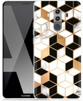 Huawei Mate 10 Pro Hoesje Black-white-gold Marble