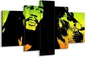 Glasschilderij Man | Groen, Zwart, Oranje | 170x100cm 5Luik | Foto print op Glas |  F003688