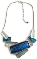 Petra's Sieradenwereld -Ketting metaal rhodium plating blauw (15)