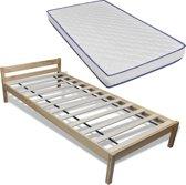 vidaXL Bed met traagschuim matras massief grenenhout 90x200 cm