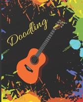 Guitar Music Lover Colorful Splatter Cute Gift Sketch Book Blank Paper Pad Journal for Doodling Sketching Coloring or Writing