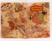Paspoort hoesje / houder / etui, wereldkaart dessin