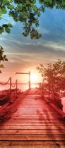 Fotobehang Zonsondergang | Rood | 91x211cm