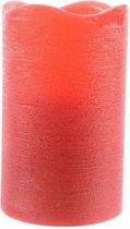 Rode waskaars warm wit LED - 7,5 x 12,5 cm - LED kaars