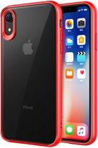 Mobiq - Clear Hybrid Case iPhone XR rood/transparant