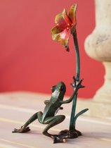 Bronzen beeld - Kikker met Bloem