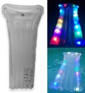 Opblaasbaar Luchtbed met LED Verlichting voor Volwassenen Inclusief Reparatieset – 172x68cm – Vanaf 14 Jaar | Opblaasbare Zwembanden | Zwembad Luchtbed | Speelgoed voor Zwemmen | Verlicht Opblaasbed | Golfmatras met Licht in Donker