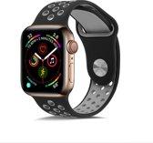 Shop4 - Apple Watch 3/2/1 38mm Bandje - Small Siliconen Grijs Zwart