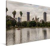 Zicht op het Keniaanse Nairobi over het water Canvas 30x20 cm - klein - Foto print op Canvas schilderij (Wanddecoratie woonkamer / slaapkamer)
