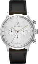 Renard Grande Chrono White/Silver Veau Black RC402SS10VBK - Horloge - 40mm - Zwart