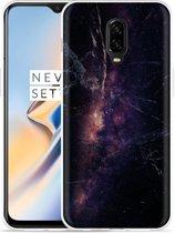 OnePlus 6T Hoesje Black Space Marble