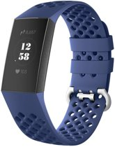 123Watches.nl Siliconen bandje - Fitbit Charge 3 - Blauw - M/L
