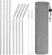 Metalen RVS rietje - Set van 10 (8 rietjes + 2 borsteltjes + opbergzakje) Roestvrijstalen – Duurzaam – Herbruikbaar, 4 rechte 4 gebogen rietjes Ideaal Voor Warme En Koude Dranken