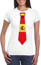 Wit t-shirt met Spanje vlag stropdas dames L