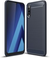 Samsung Galaxy A70 Hoesje - Armor Brushed TPU - Donkerblauw