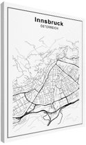 Stadskaart klein - Innsbruck canvas 30x40 cm - Plattegrond