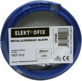2.5 meter Elektrofix installatiedraad blauw, 6mm