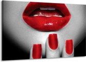 Schilderij | Canvas Schilderij Lippen, Vrouw | Grijs, Rood | 140x90cm 1Luik | Foto print op Canvas